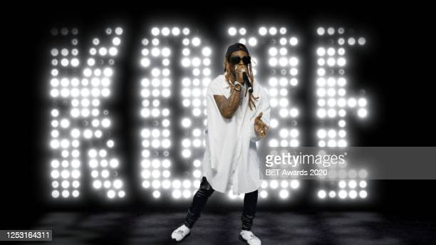 In this screengrab, Lil Wayne performs during the 2020 BET Awards. The 20th annual BET Awards, which aired June 28 was held virtually due to...