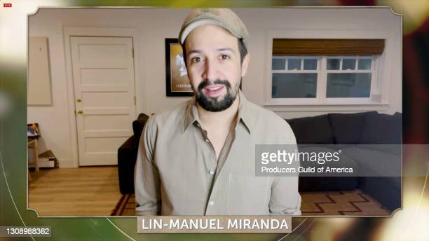 In this screengrab, Lin-Manuel Miranda speaks during the 32nd Annual Producers Guild Awards on March 24, 2021.