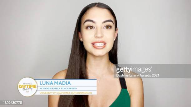 In this screengrab, Luna Madia speaks during the 48th Annual Daytime Emmy Awards for Lifestyle online on July 18, 2021.