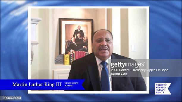 In this screengrab, Martin Luther King III speaks at the 52nd annual Robert F. Kennedy Ripple of Hope Award gala, honoring courageous human rights...