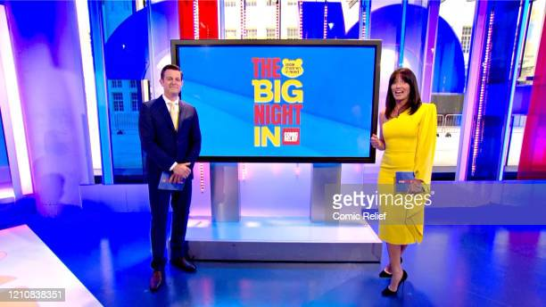 In this screengrab, Matt Baker and Davina McCall host the BBC Children In Need and Comic Relief 'Big Night In at London on April 23, 2020 in London,...
