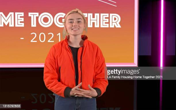 In this screengrab, Meg Donnelly speaks during LA Family Housing's Home Together virtual event, presented by RBC|City National Bank and The Smidt...