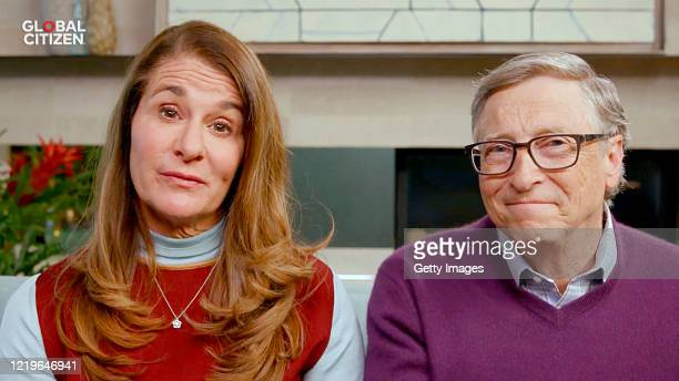 In this screengrab Melinda Gates and Bill Gates speak during One World Together At Home presented by Global Citizen on April 2020 The global...