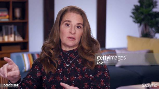 """In this screengrab, Melinda Gates speaks at the featured session, """"Melinda Gates + Kelly Corrigan Talk Big Change"""" during SXSW Online on March 19,..."""
