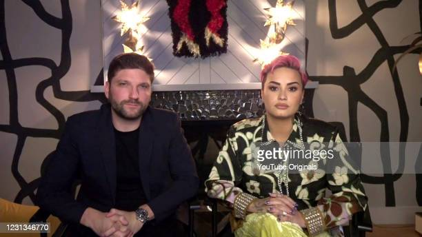 In this screengrab, Michael D. Ratner, director and executive producer, and Demi Lovato, singer, songwriter and actress from YouTube Originals'...