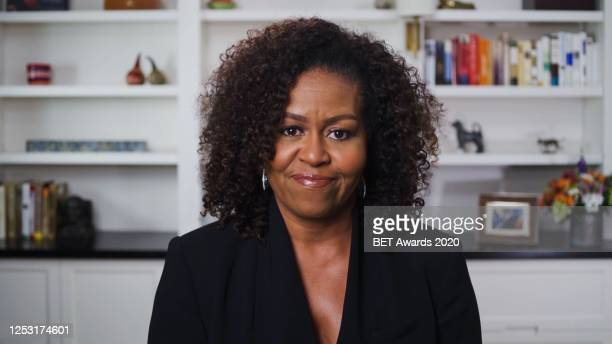 In this screengrab, Michelle Obama is seen during the 2020 BET Awards. The 20th annual BET Awards, which aired June 28 was held virtually due to...