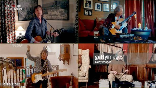 In this screengrab Mick Jagger Keith Richards Ronnie Wood and Charlie Watts of musical group The Rolling Stones perform during One World Together At...