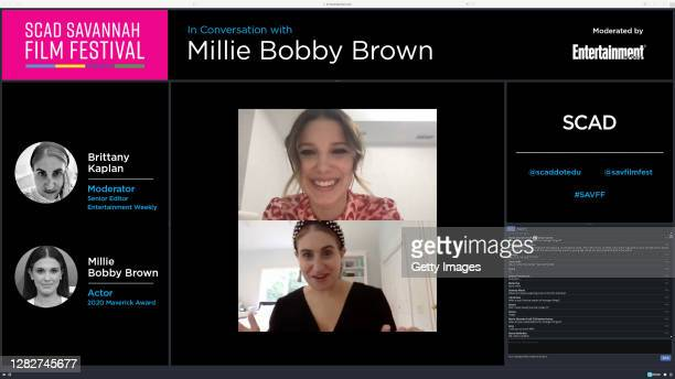 In this screengrab Millie Bobby Brown and Brittany Kaplan speak during In Conversation with Millie Bobby Brown Maverick Award Presentation during...