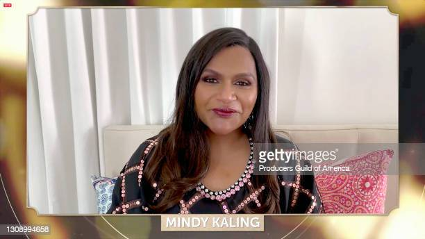 In this screengrab, Mindy Kaling speaks during the 32nd Annual Producers Guild Awards on March 24, 2021.