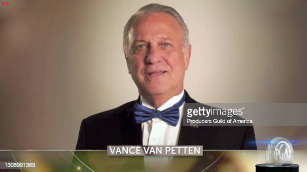 In this screengrab, National Executive Director of the Producers Guild of America Vance Van Petten speaks during the 32nd Annual Producers Guild...