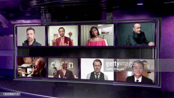 In this screengrab, nominees for Best Actor Ben Affleck, Riz Ahmed, Taylor Simone Ledward on behalf of Chadwick Boseman, Tom Hanks, Steven Yeun, Gary...