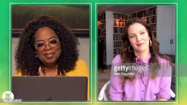 """In this screengrab, Oprah Winfrey and Drew Barrymore speak during WW Presents """"Oprah's Your Life In Focus: Spring Forward Stronger"""" on May 08, 2021."""