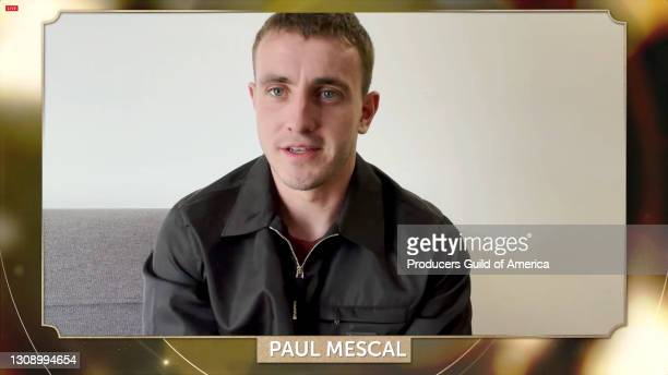 In this screengrab, Paul Mescal speaks during the 32nd Annual Producers Guild Awards on March 24, 2021.