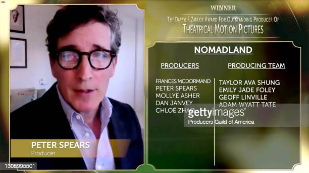 In this screengrab, Peter Spears accepts the Darryl F. Zanuck Award for Outstanding Producer of Theatrical Motion Pictures during the 32nd Annual...