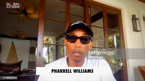 In this screengrab Pharrell Williams speaks during One World Together At Home presented by Global Citizen on April 2020 The global broadcast and...