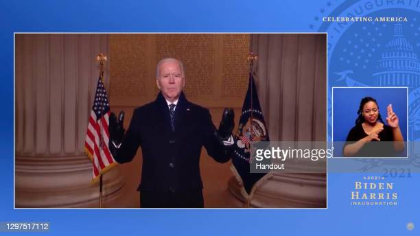 In this screengrab, President Joe Biden speaks during the Celebrating America Primetime Special on January 20, 2021. The livestream event hosted by...