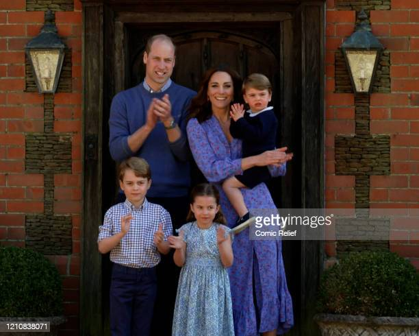 In this screengrab, Prince William, Duke of Cambridge, Catherine Duchess of Cambridge, Prince George of Cambridge, Princess Charlotte of Cambridge...