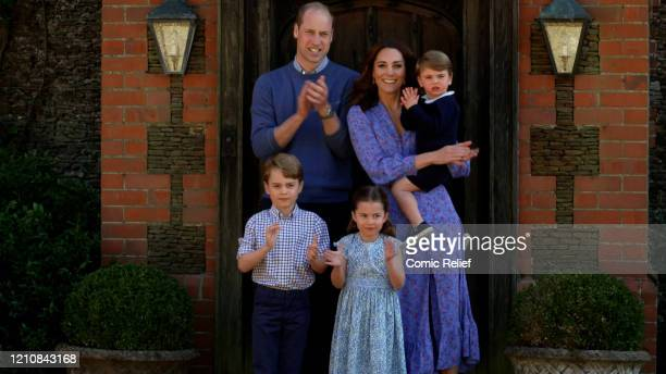 In this screengrab Prince William Duke of Cambridge Catherine Duchess of Cambridge Prince George of Cambridge Princess Charlotte of Cambridge and...