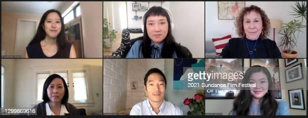 In this screengrab, producer Carolyn Mao, director Kate Tsang, Rhea Perlman, moderator Kim Yutani, Leonardo Nam, and Miya Cech speak at the...