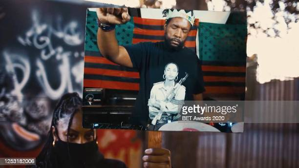 """In this screengrab Questlove joins Chuck D, Nas, Black Thought, Rapsody, Flavor Flav, Jahi and YG for a performance of """"Fight the Power"""" during the..."""