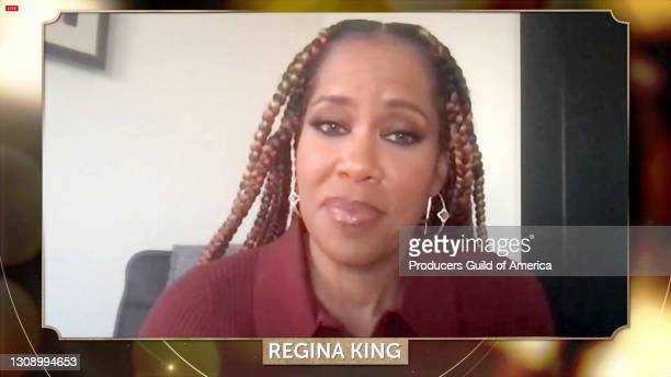 In this screengrab, Regina King speaks during the 32nd Annual Producers Guild Awards on March 24, 2021.