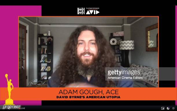 "In this screengrab released on April 17, Adam Gough, ACE, accepts the Best Edited Variety Talk/Sketch Show or Special award for ""David Byrne's..."