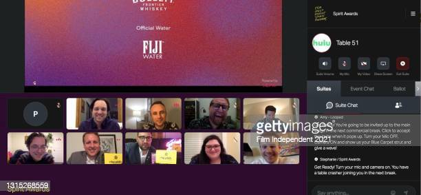 In this screengrab released on April 22, Andy Siara attends the Virtual Cocktail Experience prior to the 2021 Film Independent Spirit Awards online...