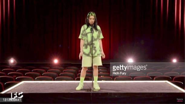 In this screengrab released on April 22, host Melissa Villaseñor impersonates Billie Eilish during the 2021 Film Independent Spirit Awards broadcast...