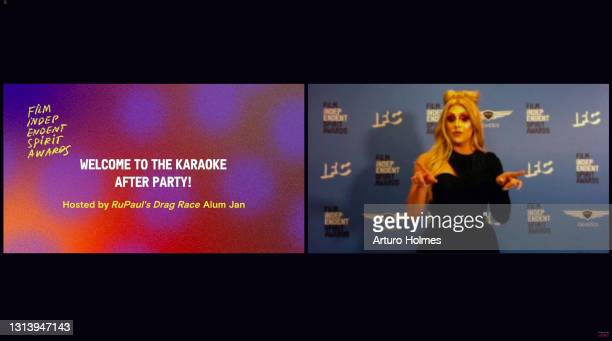 In this screengrab released on April 22, Jan performs during the 2021 Film Independent Spirit Awards Virtual Karaoke After Party online on April 22.
