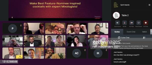 In this screengrab released on April 22, Merawi Gerima, Pierce Cravens, Isabel Sandoval, and Jhett Tolentino attend the Virtual Cocktail Experience...