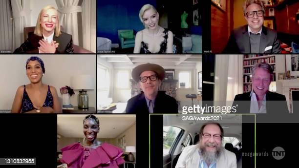 In this screengrab released on April 4 Cate Blanchett, Anya Taylor-Joy, Mark Ruffalo, Kerry Washington, Ethan Hawke, Hugh Grant, Michaela Coel, and...
