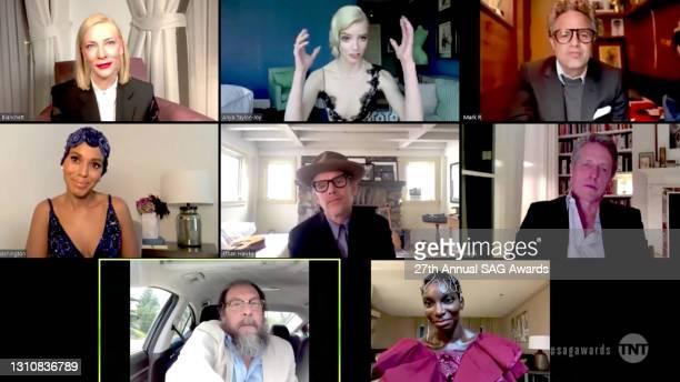 In this screengrab released on April 4 Cate Blanchett, Anya Taylor-Joy, Mark Ruffalo, Kerry Washington, Ethan Hawke, Hugh Grant, Bill Camp, and...