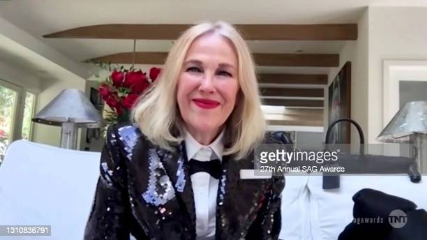 """In this screengrab released on April 4 Catherine O'Hara, winner of Outstanding Performance by a Female Actor in a Comedy Series for """"Schitt's Creek"""",..."""