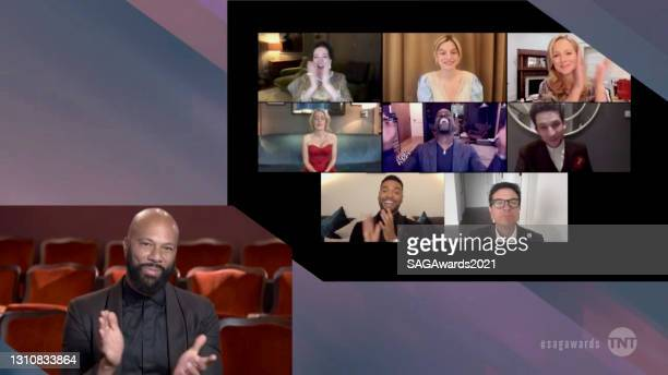 In this screengrab released on April 4 Common, Olivia Colman, Emma Corrin, Laura Linney, Gillian Anderson, Sterling K. Brown, Josh O'Connor,...