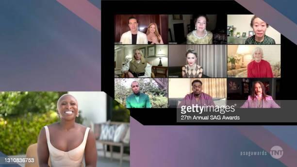 In this screengrab released on April 4 Cynthia Erivo, Sacha Baron Cohen, Isla Fisher, Olivia Colman, Yuh-Jung Youn, Helena Zengel, Maria Bakalova,...