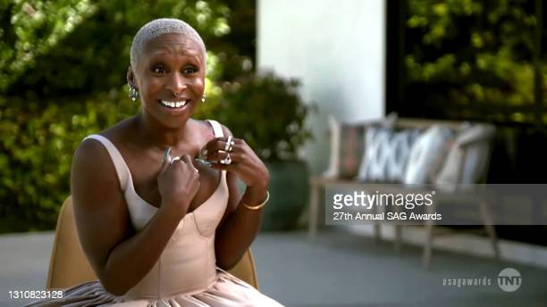In this screengrab released on April 4 Cynthia Erivo speaks during the 27th Annual Screen Actors Guild Awards on April 04, 2021.