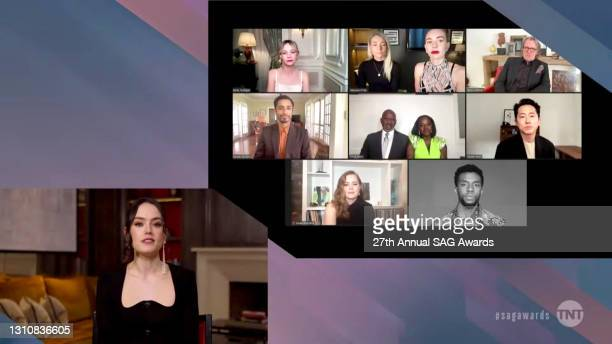 In this screengrab released on April 4 Daisy Ridley, Carey Mulligan, Vanessa Kirby, Gary Oldman, Riz Ahmed, Julius Tennon, Viola Davis, Steven Yeun,...