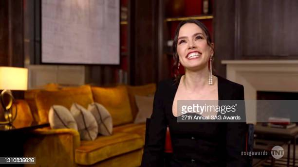 In this screengrab released on April 4 Daisy Ridley speaks during the 27th Annual Screen Actors Guild Awards on April 04, 2021.