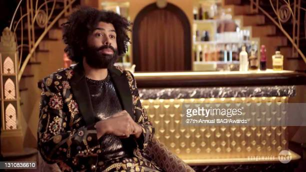 In this screengrab released on April 4 Daveed Diggs speaks during the 27th Annual Screen Actors Guild Awards on April 04, 2021.