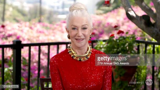 In this screengrab released on April 4 Helen Mirren speaks during the 27th Annual Screen Actors Guild Awards on April 04, 2021.