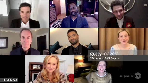 In this screengrab released on April 4 Jason Bateman, Sterling K. Brown, Josh O'Connor, Bob Odenkirk, Regé-Jean Page, Emma Corrin, Laura Linney, and...