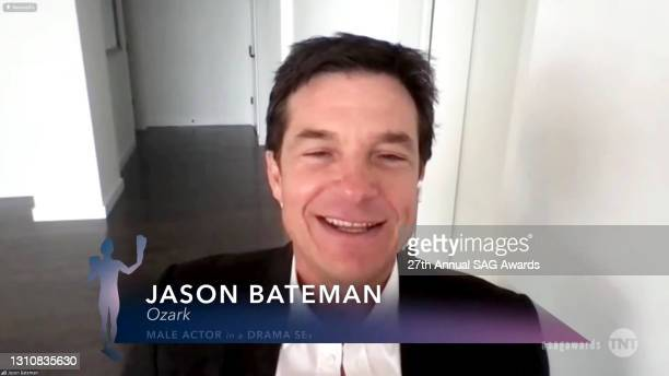 """In this screengrab released on April 4 Jason Bateman, winner of Outstanding Performance by a Male Actor in a Drama Series for """"Ozark"""", speaks during..."""
