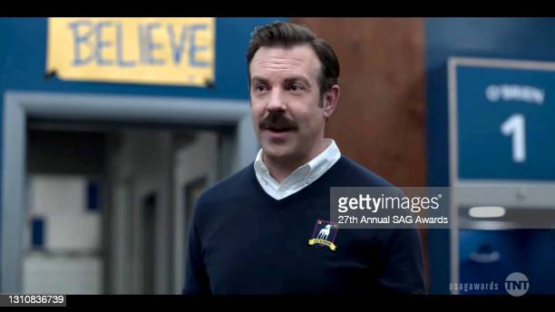 """In this screengrab released on April 4 Jason Sudeikis performs as """"Ted Lasso"""" during the 27th Annual Screen Actors Guild Awards on April 04, 2021."""