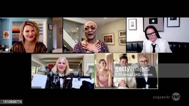 In this screengrab released on April 4 Jennifer Robertson, Karen Robinson, Emily Hampshire, Catherine O'Hara, Sarah Levy, Dan Levy, and Eugene Levy,...