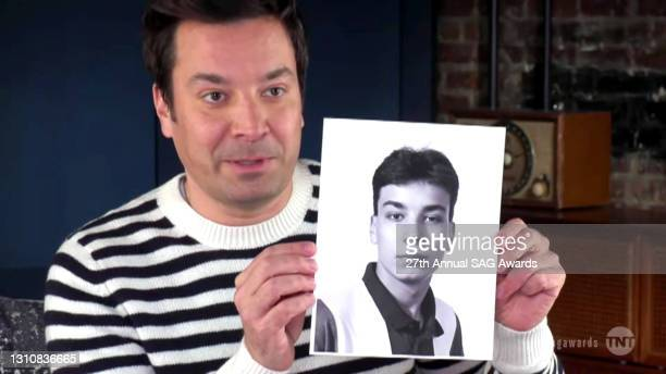 In this screengrab released on April 4 Jimmy Fallon speaks during the 27th Annual Screen Actors Guild Awards on April 04, 2021.
