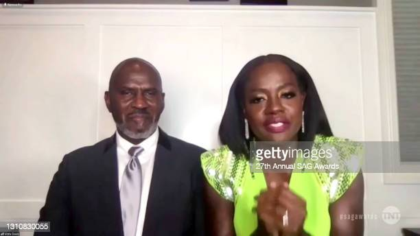 """In this screengrab released on April 4 Julius Tennon and Viola Davis, winner of Outstanding Performance by a Female Actor in a Leading Role for """"Ma..."""