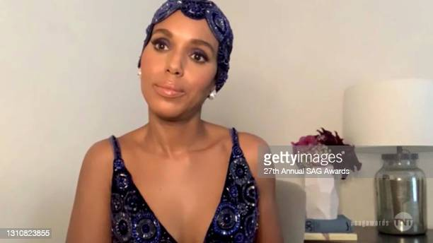 In this screengrab released on April 4 Kerry Washington speaks during the 27th Annual Screen Actors Guild Awards on April 04, 2021.