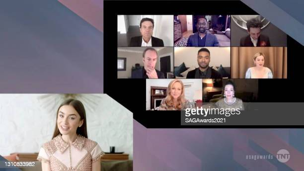 In this screengrab released on April 4 Lily Collins, Jason Bateman, Sterling K. Brown, Josh O'Connor, Bob Odenkirk, Regé-Jean Page, Emma Corrin,...