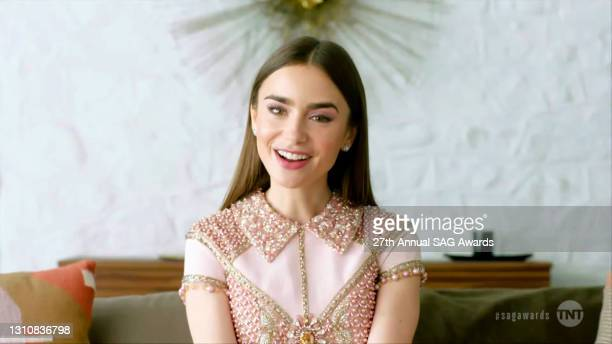In this screengrab released on April 4 Lily Collins speaks during the 27th Annual Screen Actors Guild Awards on April 04, 2021.