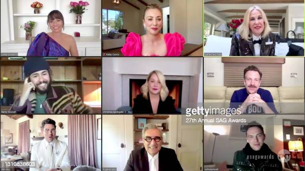 In this screengrab released on April 4 Linda Cardellini, Kaley Cuoco, Catherine O'Hara, Ramy Youssef, Christina Applegate, Jason Sudeikis, Dan Levy,...